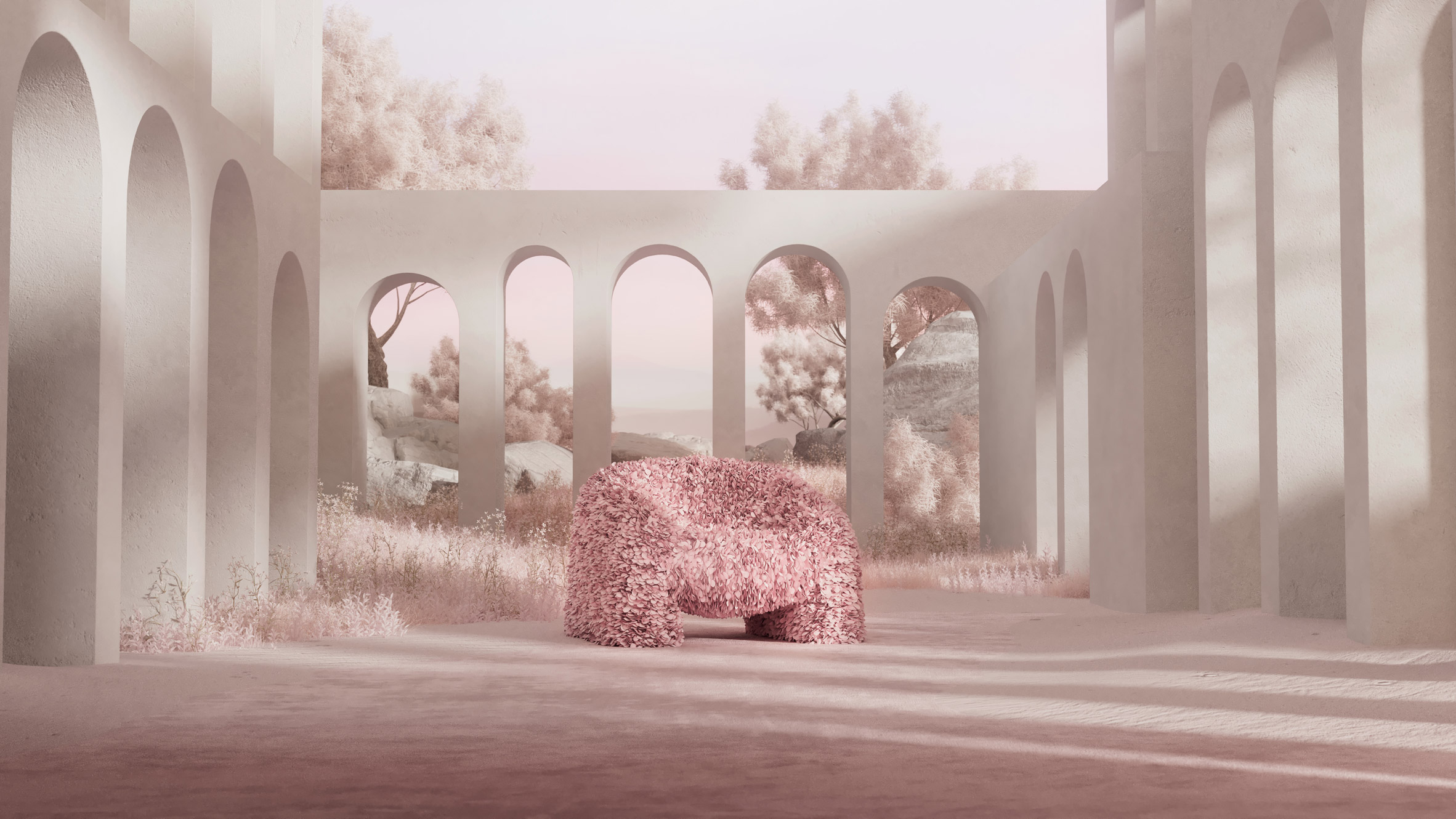 Hortensia chair in pink within a 3D rendered setting