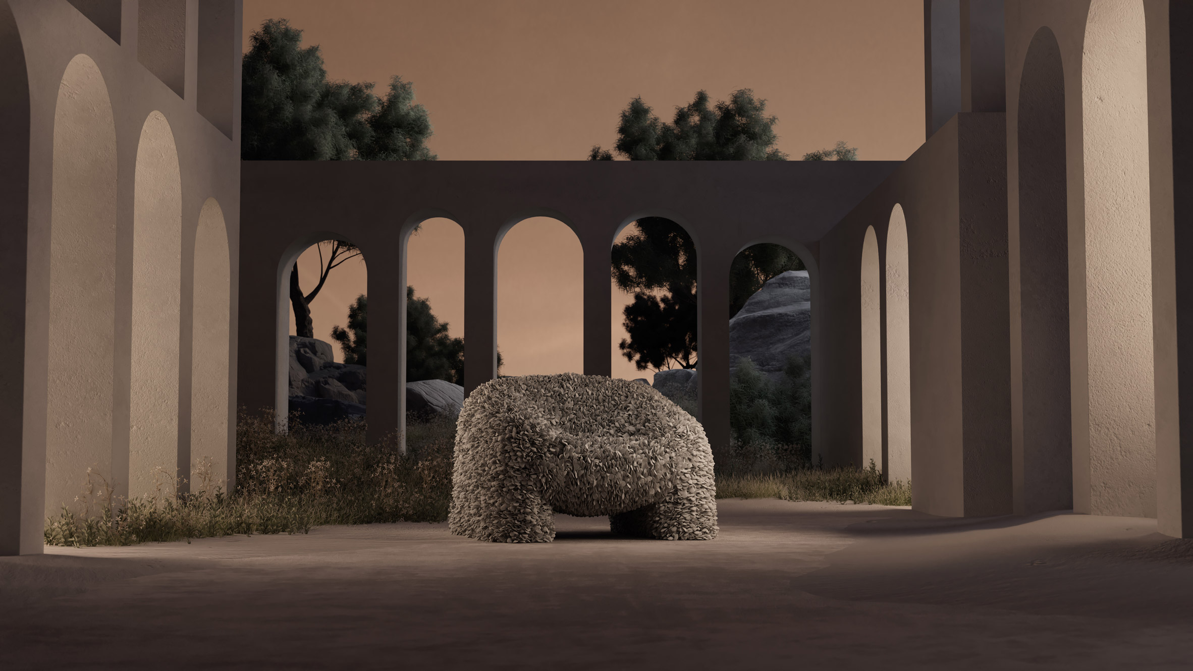 Hortensia chair in grey within a 3D rendered setting