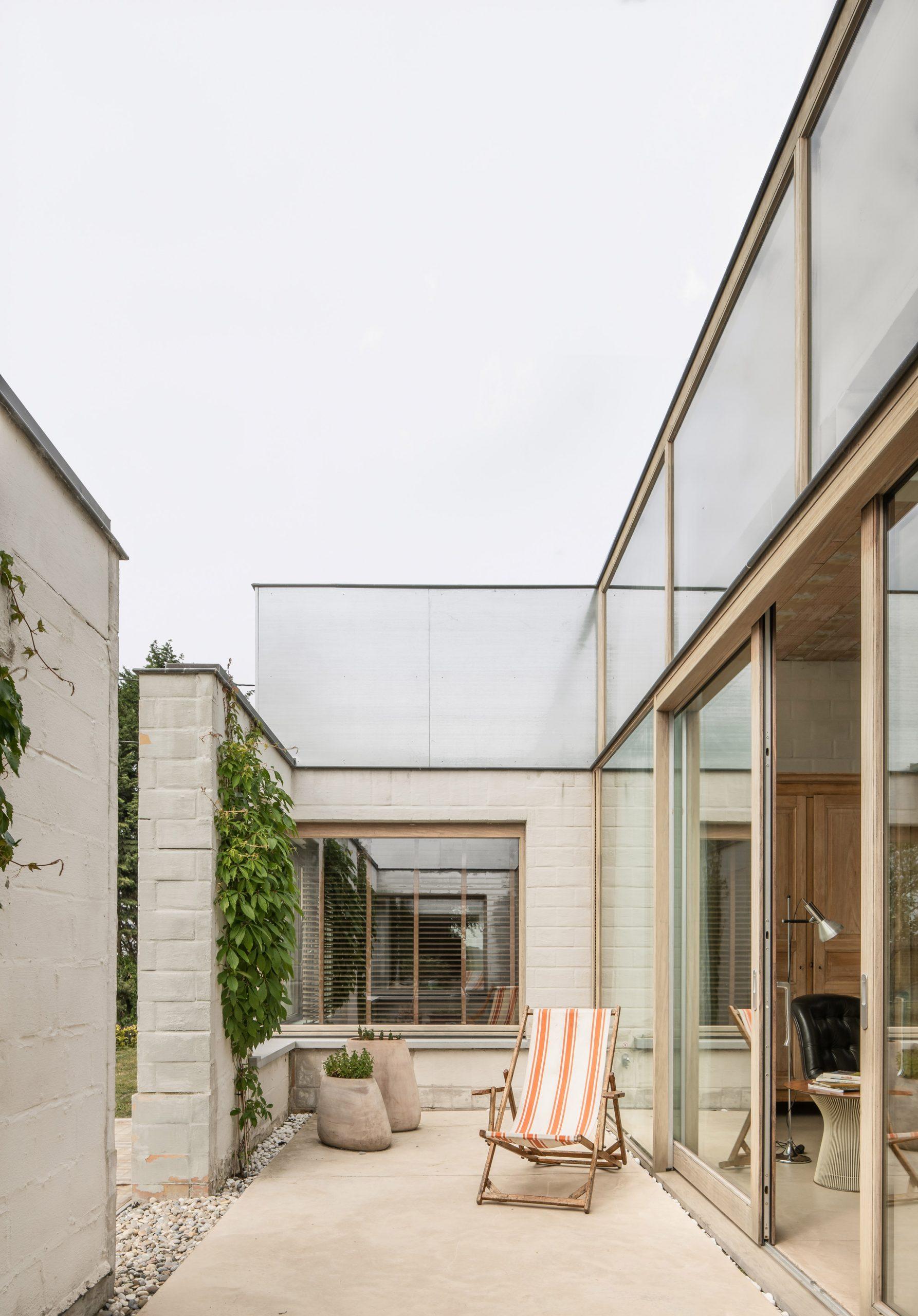 A partially-enclosed patio