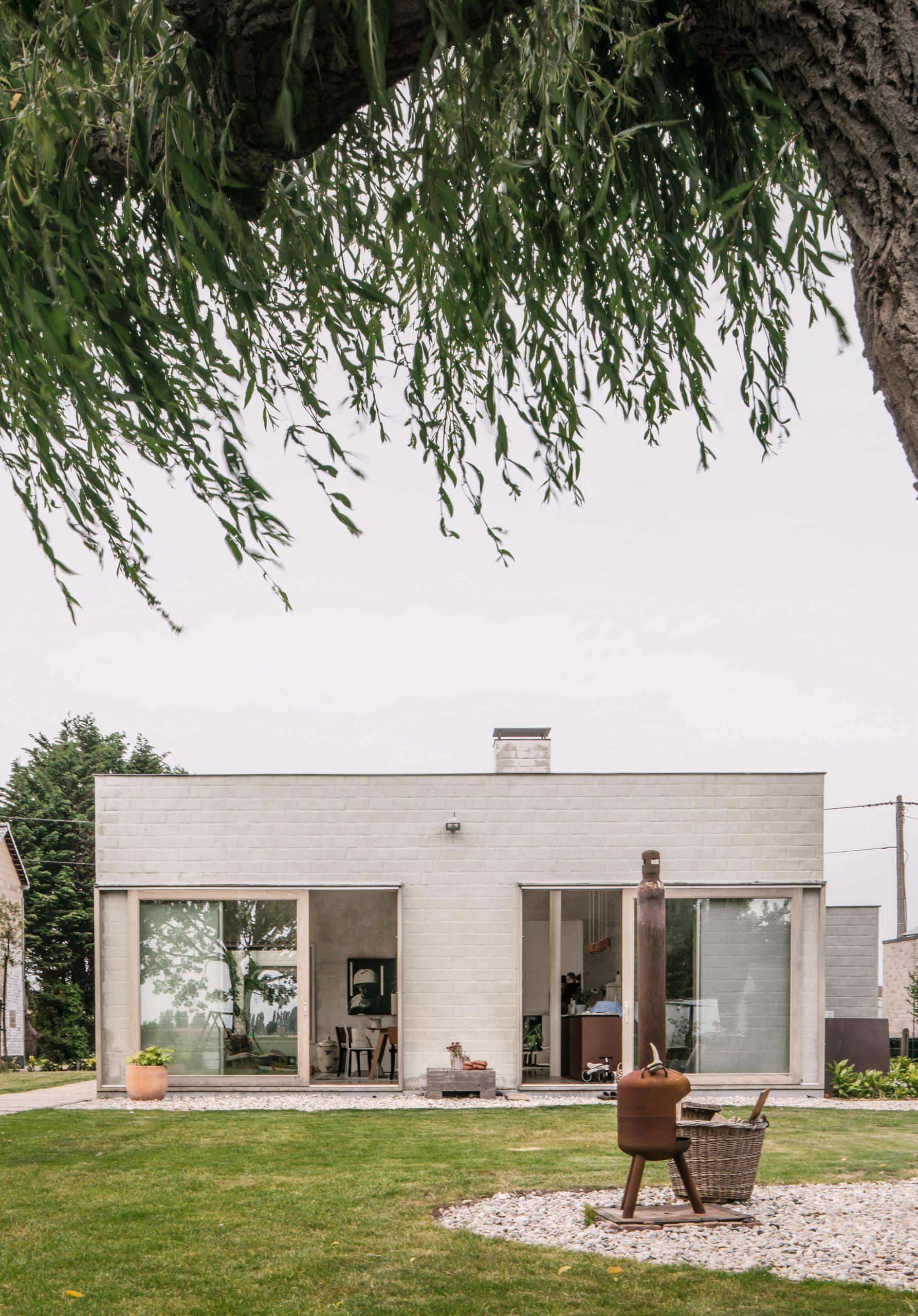 A white brick bungalow