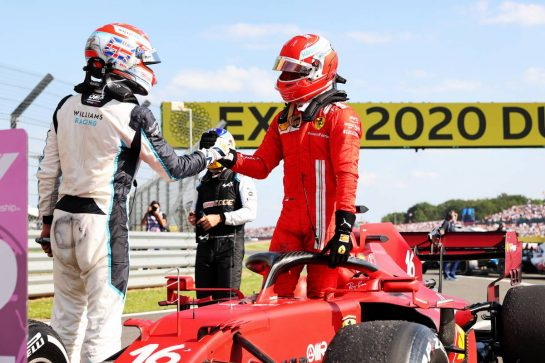 (L to R): George Russell (GBR) Williams Racing with Charles Leclerc (MON) Ferrari SF-21 in parc ferme. 18.07.2021. Formula 1 World Championship, Rd 10, British Grand Prix, Silverstone, England, Race Day. - www.xpbimages.com, EMail: requests@xpbimages.com © Copyright: Batchelor / XPB Images