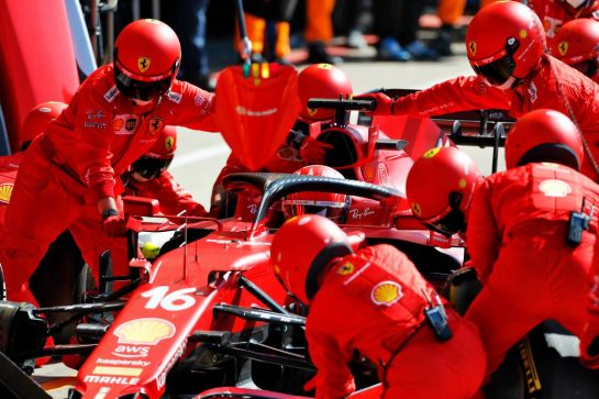 Charles Leclerc (MON) Ferrari SF-21 makes a pit stop. 18.07.2021. Formula 1 World Championship, Rd 10, British Grand Prix, Silverstone, England, Race Day. - www.xpbimages.com, EMail: requests@xpbimages.com © Copyright: Staley / XPB Images